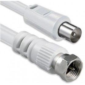 Cable de antena coaxial Receptor/Pared 1,5 m blanco.