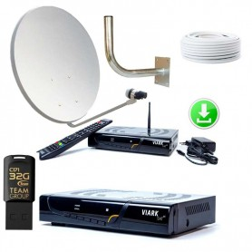 KIT PARÁBOLA 60 CM + Viark SAT 4K + Pendrive 32Gb con actualización y lista canales