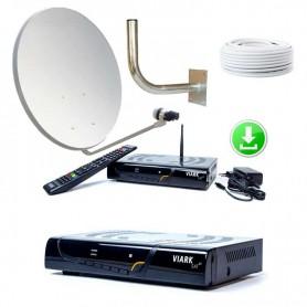 KIT PARÁBOLA 60 CM + 40 mts CABLE + Viark SAT 4K + PEN 32GB ACTUALIZACIÓN LISTA CANALES