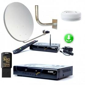 KIT PARÁBOLA 60 CM + Viark SAT + Pendrive 32Gb con actualización y lista canales