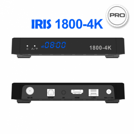 IRIS 1800-4K PRO - Receptor Android SAT (S2), 4K UHD, H.265, 1 Lector tarjetas, Wifi integrado, IR