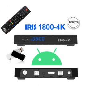 IRIS 1800-4K PRO + PENDRIVE 32GB - Receptor Android SAT (S2), 4K NETFLIX, HBO, APPS